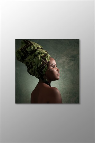 African Woman Kanvas Tablo (Kare)