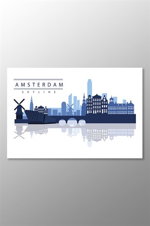 Amsterdam Skyline Kanvas Tablo