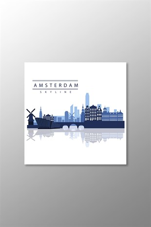 Amsterdam Skyline Kanvas Tablo (Kare)