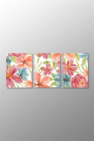 Watercolor Floral Kanvas Tablo (3Parça)